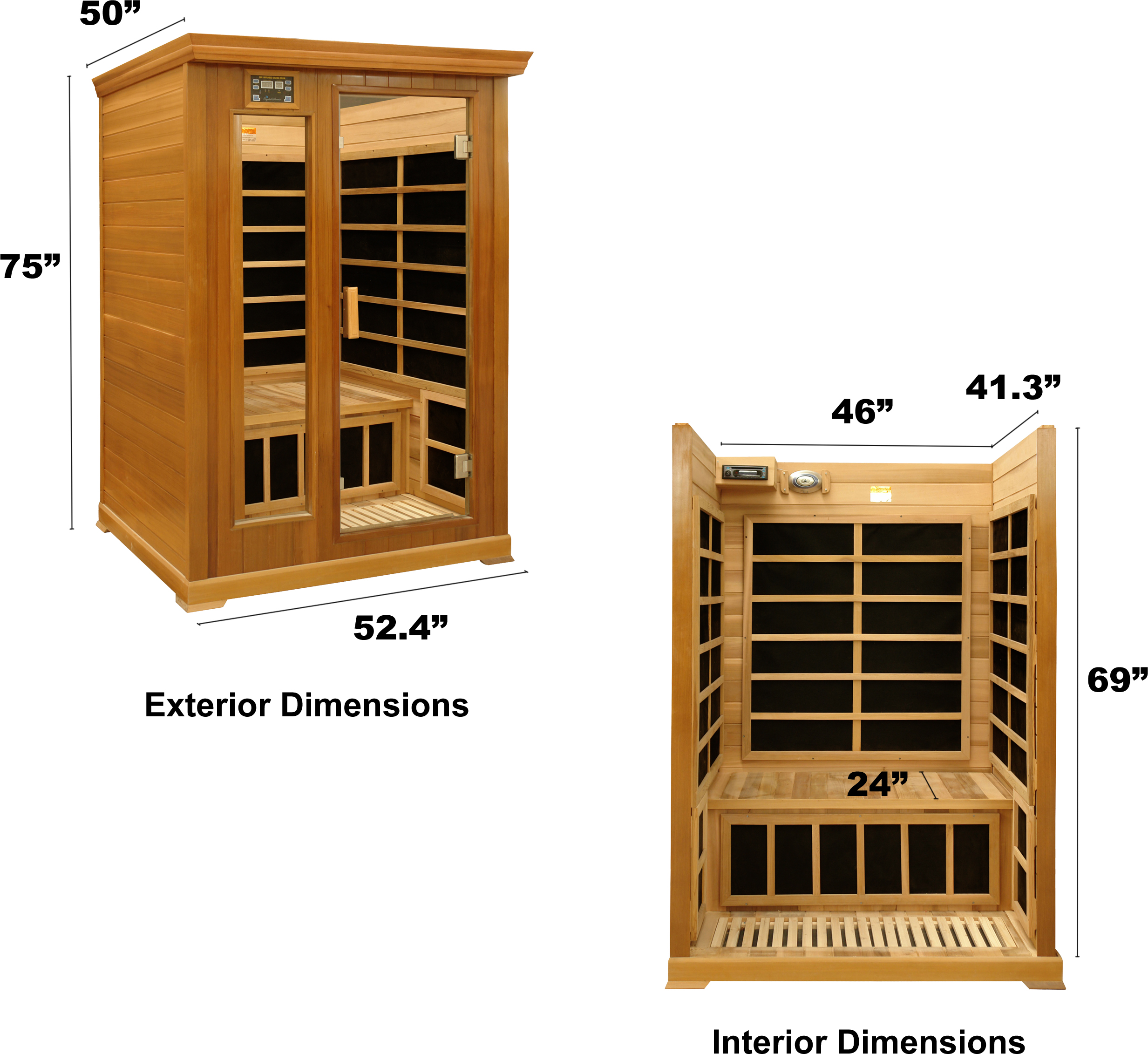 2 person luxury infrared sauna red cedar. Black Bedroom Furniture Sets. Home Design Ideas