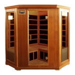 Deluxe 3-4 Person Corner Infrared Sauna Red Cedar