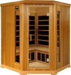 4-5 Person Corner Infrared Luxury Sauna: red cedar