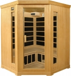 4-5 Person Corner Luxury Infrared Sauna: hemlock